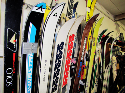 Skis at the ERC Community Warehouse